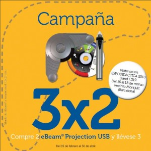 Promoción eBeam Projection USB 3 x 2